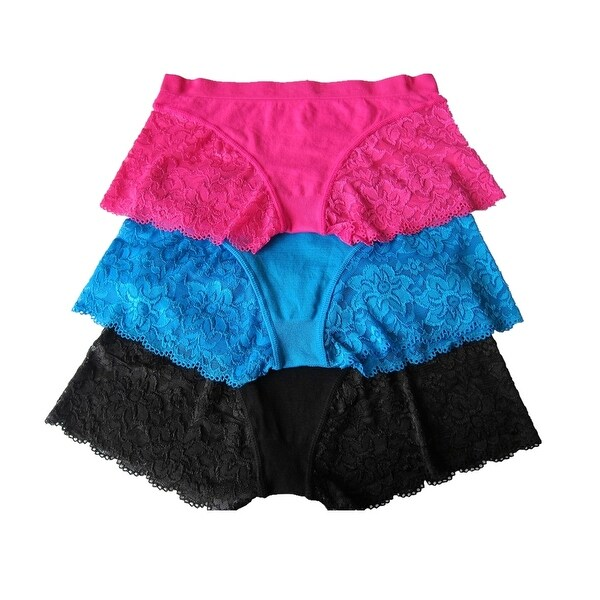 Women 3 Pack Seamless Solid Color Lace Boyshorts Panties