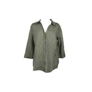Jm Collection Olive /-Sleeve Hardware-Detail Shirt L