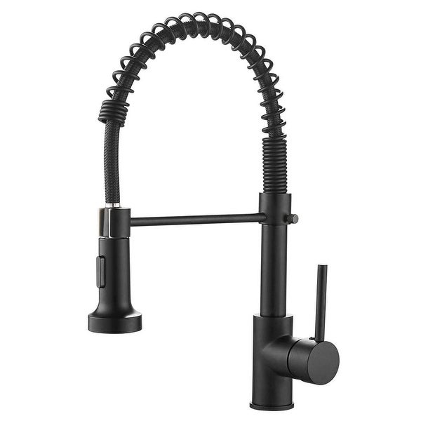 Single Handle Pull-down Kitchen Faucet with Deck Plate Matte Black. Opens flyout.