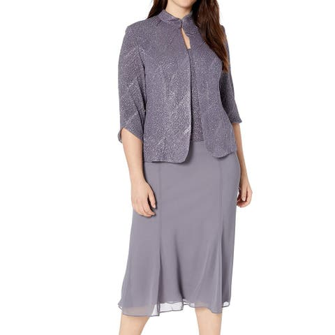 Alex Evenings Womens A-Line Dress Gray Size 20W Plus Shimmer Textured