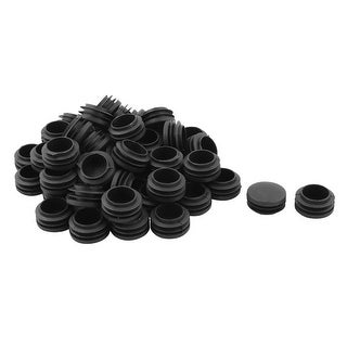 Home Plastic Round Furniture Stool Desk Feet Protector Tube Insert Black 50pcs