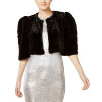 Calvin Klein Black Women's Size Large L Faux-Fur Shrug Jacket