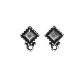 TierraCast Silver Plated Pewter Stud Post Earrings Faceted Diamond