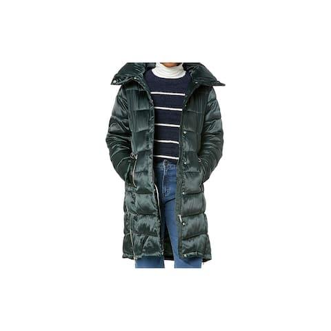 Steve Madden Womens Jacket Green Size Large L Puffer Pillow-Collar