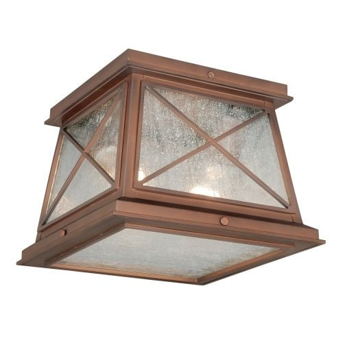 Vaxcel Lighting T0065 Mackinac 2 Light Flush Mount Outdoor Ceiling Fixture with Clear Seeded Glass Shade - 9 Inches Wide - Thumbnail 0