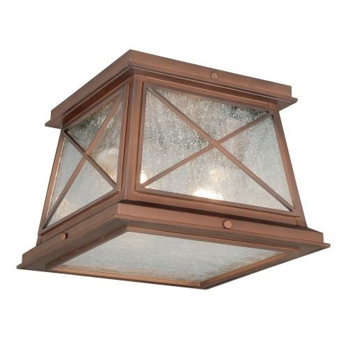 Vaxcel Lighting T0065 Mackinac 2 Light Flush Mount Outdoor Ceiling Fixture with Clear Seeded Glass Shade - 9 Inches Wide