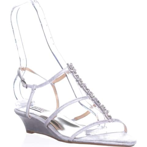 Badgley Mischka Carley II Gladiator Wedge Sandals, Silver