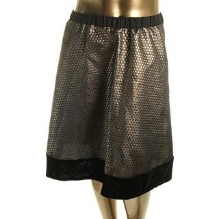NY Collection Womens Metallic Velvet Trim Flare Skirt
