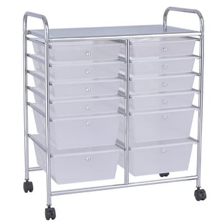 12 Storage Drawer Organizer Bins Rolling Cart