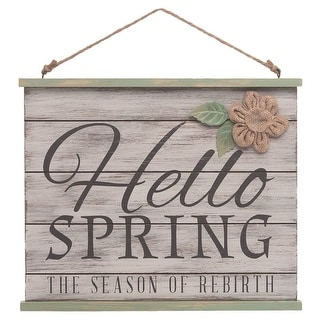 """Link to 11.75"""" Brown Easter """"Hello Spring"""" Hanging Decor Accent Similar Items in Decorative Accessories"""