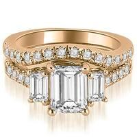 2.25 cttw. 14K Rose Gold Lucida Three-Stone Diamond Emerald Cut Bridal Set