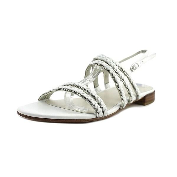 Stuart Weitzman Linedrive Women Open-Toe Leather White Slingback Sandal