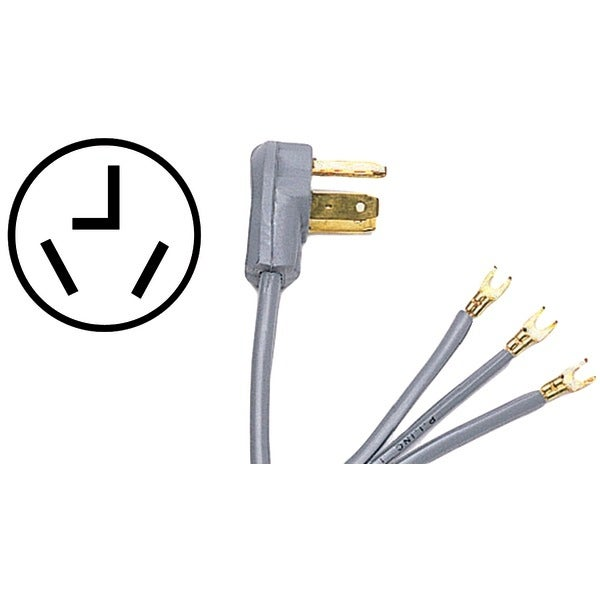 Certified Appliance 90-1014 3-Wire Dryer Cord, 30 Amps (6Ft, Open Eyelet)