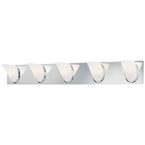 """Kovacs P5945 Angle 5 Light 37"""" Wide Bathroom Vanity Light with Etched Opal Shade"""