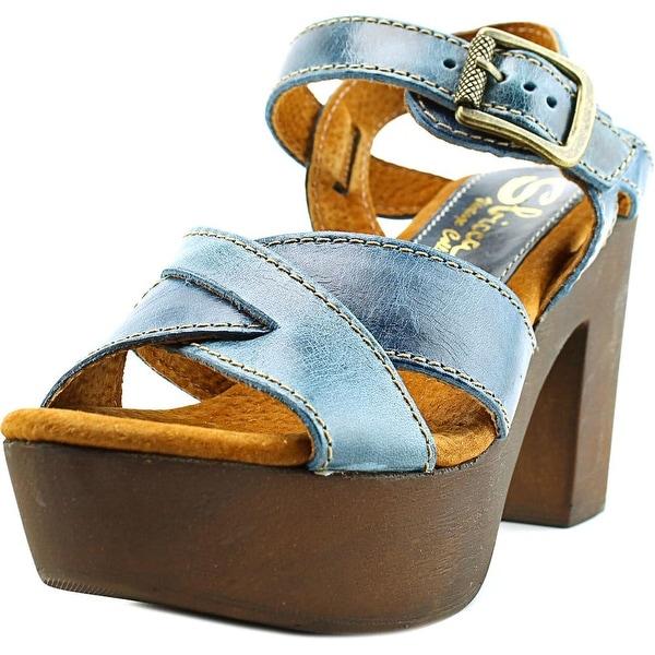 Sbicca Blackwell Women Open Toe Leather Blue Platform Sandal
