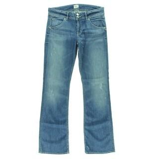 Hudson Womens Signature Distressed Denim Bootcut Jeans - 30