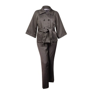 Tahari Women's Blair Empire Couture Belted Pant Suit (18, Grey/Black) - 18