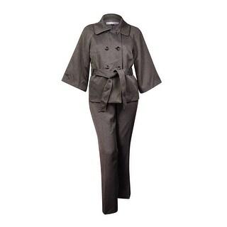 Tahari Women's Blair Empire Couture Belted Pant Suit (18, Grey/Black) - Grey/Black - 18