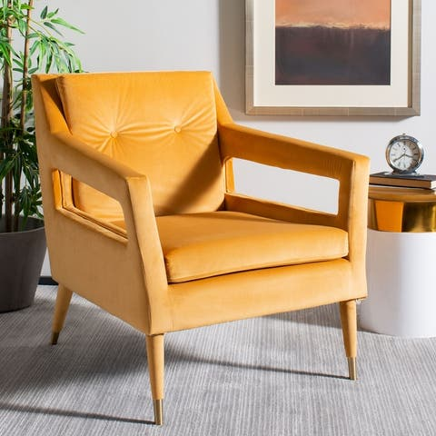 "Safavieh Mara Tufted Velvet Accent Chair - 30.3"" x 34.1"" x 33.9"""