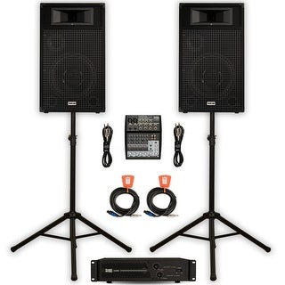 """Acoustic Audio BR12 DJ Speaker Set 12"""" Passive Speakers Amp Mixer Cables and Stands for PA Band"""