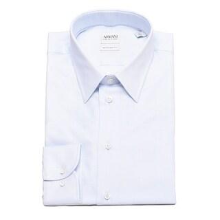 Armani Collezioni Men Modern Fit Cotton Point Dress Shirt Light Blue White