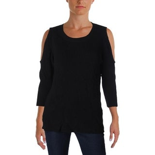 Aqua Womens Pullover Sweater Textured Cold Shoulder