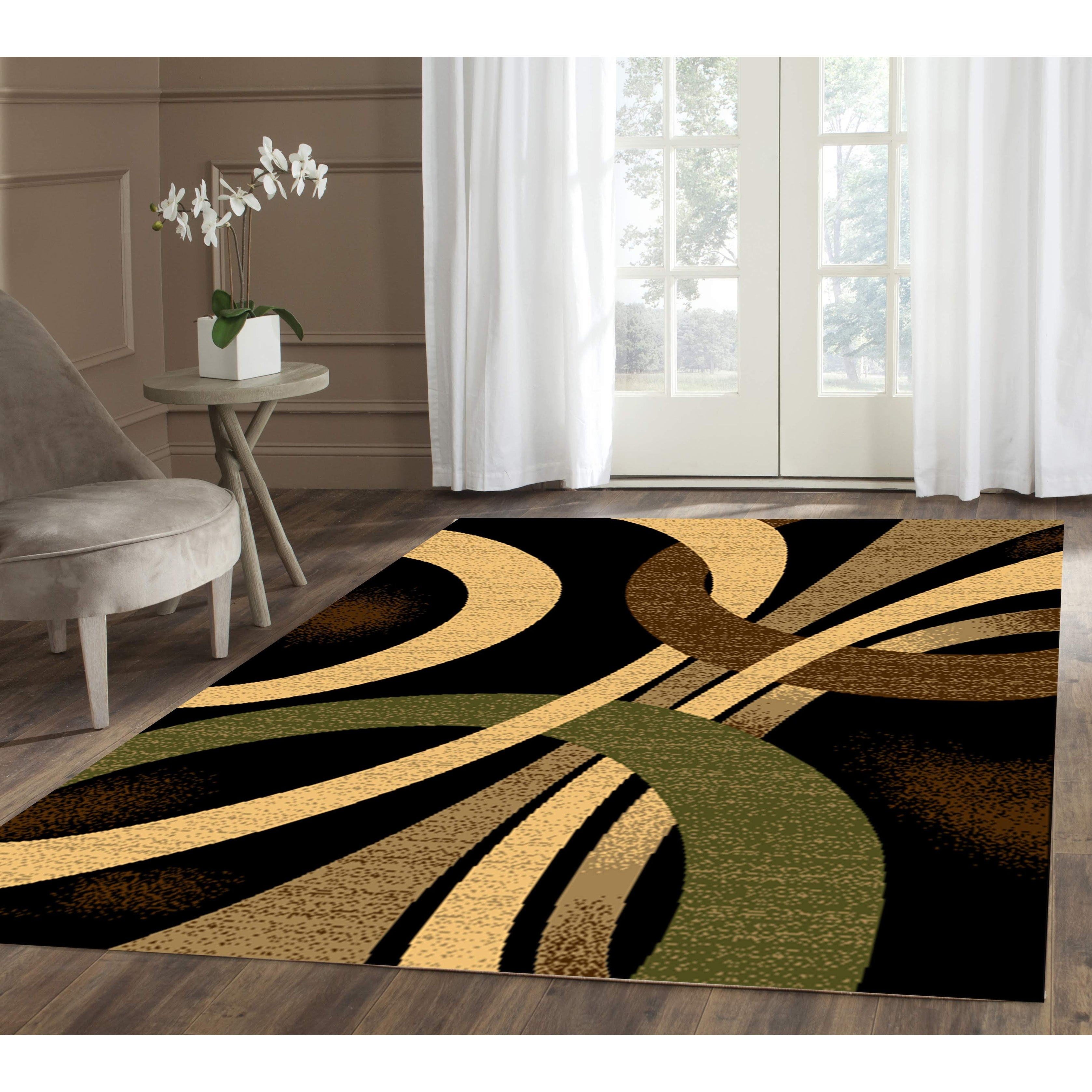 Coleen Abstract Black Beige Area Rug 8 Ft By 10 Ft 8 X 10 Overstock 25452753
