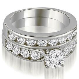 2.70 cttw. 14K White Gold Classic Channel Set Round Cut Diamond Bridal Set,HI,SI1-2 (More options available)