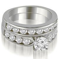 3.20 cttw. 14K White Gold Classic Channel Set Round Cut Diamond Bridal Set
