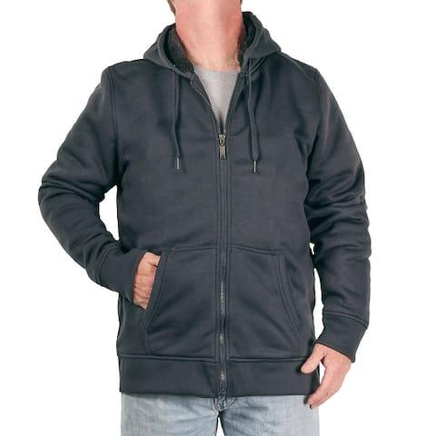 U.S. Life Men's Heavyweight Sherpa-Lined Full-Zip Hoodie