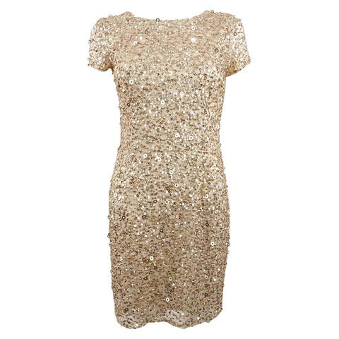 Adrianna Papell Women's Petite Scoop-Back Sequined Dress
