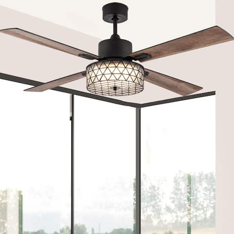 """Gemma River of Goods 52-inch LED Integrated Ceiling Fan With Light - 52"""" x 52"""" x 13.5""""/18.5"""""""