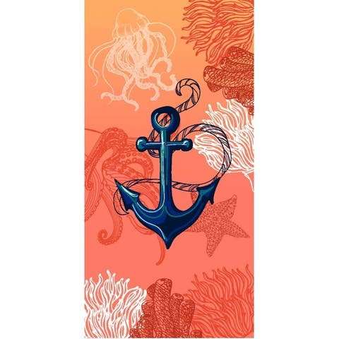 Anchor & Coral 30x60 Brazilian Velour Beach Towel