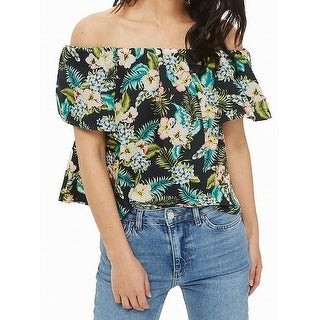 TopShop NEW Black Women's Size 6 Off-Shoulder Floral Print Blouse