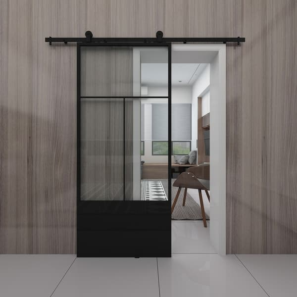 Nation Clear Glass Metal Barn Door With Installation Hardware Kit Overstock 31927396