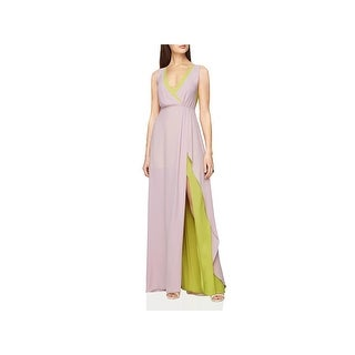 BCBG Max Azria Womens Sage Evening Dress Colorblock High Waist