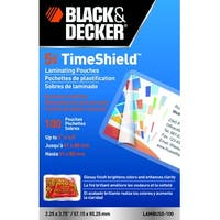 Black & Decker TimeShield Laminating Pouch, 3-1/2 x 2 Inches, 5 mil, Pack of 100