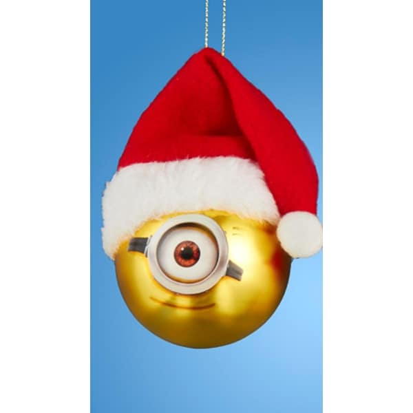 "Despicable Me Minion Stuart with Santa Hat Gold Glass Christmas Ball Ornament 2.5"" (60mm)"