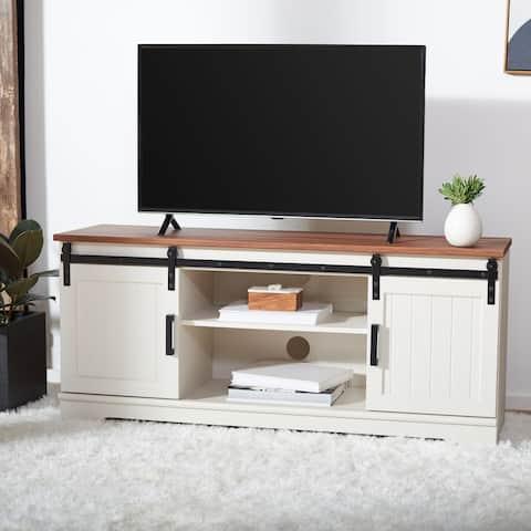 "SAFAVIEH Braelynn White Washed/Walnut 55-inch Storage TV Media Stand - 54.8"" W x 15.4"" x 24.2"""