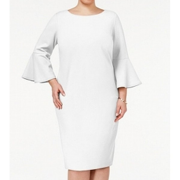 30d68bc7 Shop Calvin Klein White Womens Size 18W Plus Bell Sleeve Sheath Dress -  Free Shipping Today - Overstock - 27186889