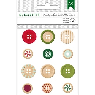 Holiday Elements Wooden Buttons 12/Pkg-