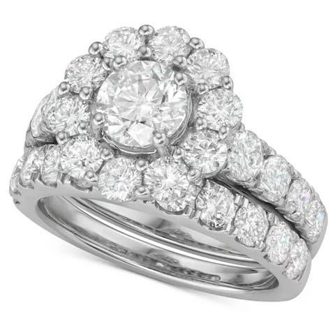 4Ct Diamond Halo Engagement Wedding Ring Set in White Yellow or Rose Gold
