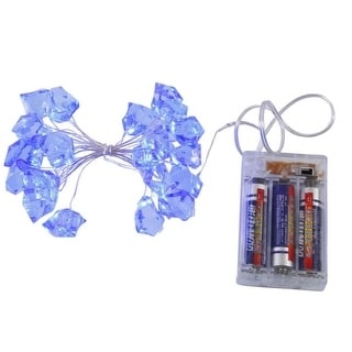 Set of 2 Battery Operated Blue LED Frozen Ice Cube Christmas Lights - Clear Wire