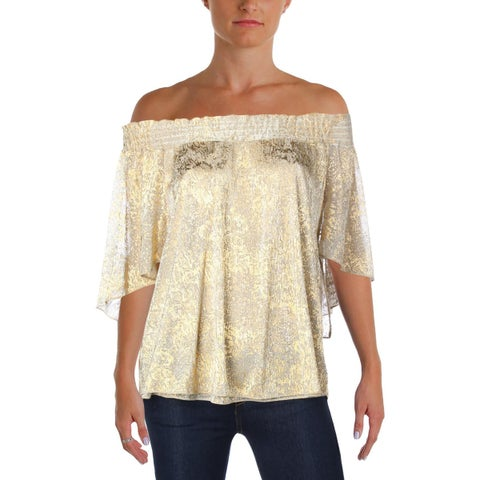 T Tahari Womens Delphine Blouse Metallic Off The Shoulder
