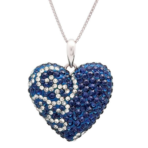 Amanda Rose Sterling Silver Heart Pendant made with Blue and White Swarovski Crystals