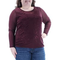 INC Womens Burgundy Printed Long Sleeve Scoop Neck Wear To Work Top  Size: XL