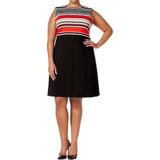Calvin Klein Womens Plus Wear to Work Dress Striped Sleeveless