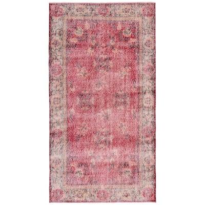 ECARPETGALLERY Hand-knotted Melis Vintage Dark Red Wool Rug - 3'10 x 5'2