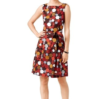Anne Klein NEW Red Siena Women's Size 6 Pleated Circle Belt Dress