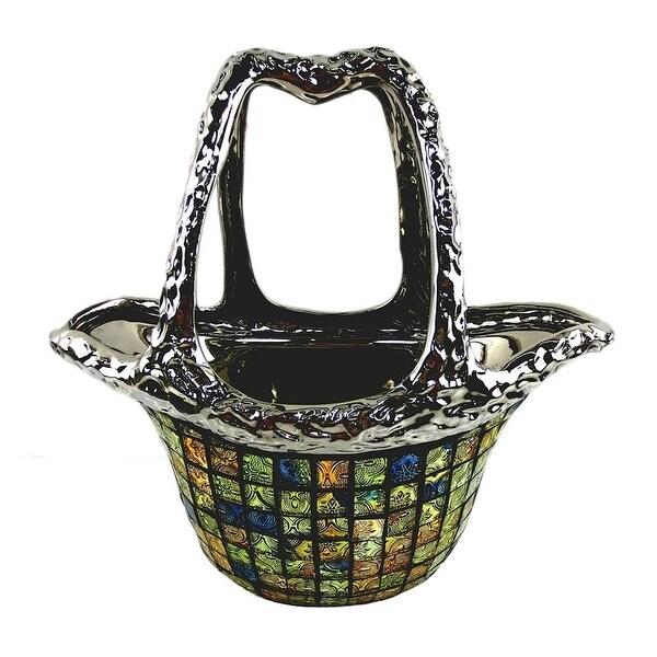 Dolce Mela DMCV005 Decorative Ceramic & Glass Flower Vase Purse Bag - 12.5 x 6.5 x 12 in.